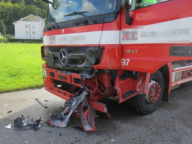 Beschädigter Lastwagen
