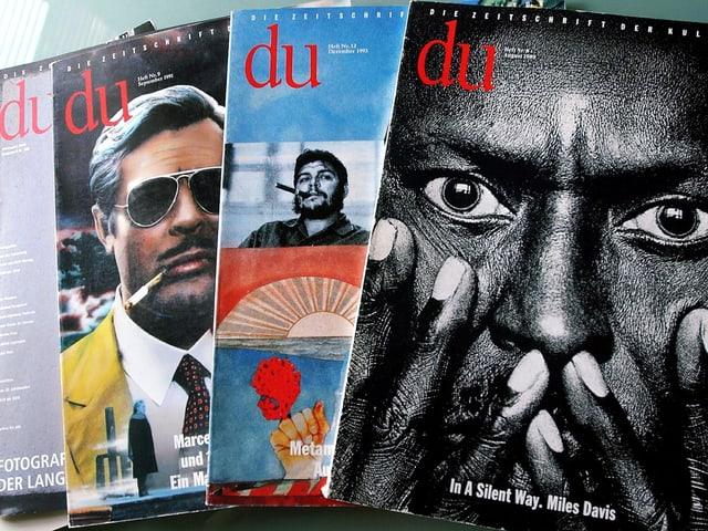Mehrere Ausgaben der Zeitschrift «Du».
