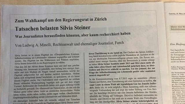 Das Inserat von Ludwig Minelli in der NZZ.