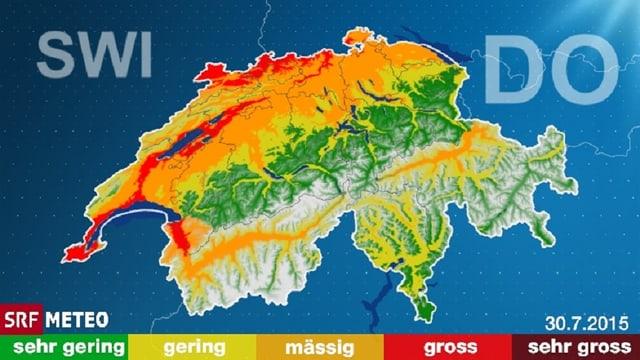 Eine Karte, welche vor allem im Mittelland ein mässige bis grosse Waldbrandgefahr zeigt.