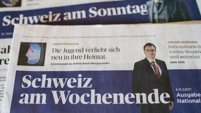 Prima ediziun da la 'Schweiz am Wochenende'.