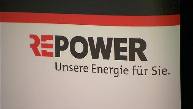 Il logo da la Repower cun il slogan Unsere Energie für Sie