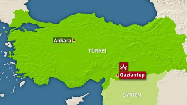 Karte von der Türkei.