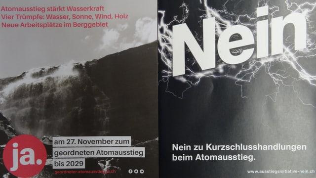 Las broschuras dals comités grischuns per ed encunter l'iniziativa per l'abandun da l'energia atomara.
