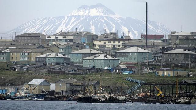 Häuser an der Küste, im Hintergrund ein schneebedeckter Berg