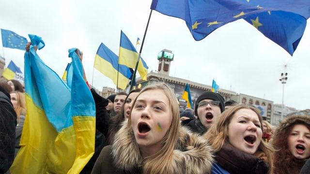 Demonstration in Kiew gegen Annäherung der Ukraine an Russland.