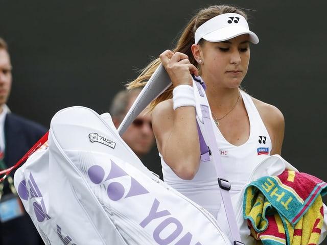 Belinda Benic 2016 nach ihrer Aufgabe in der 2. Runde von Wimbledon.