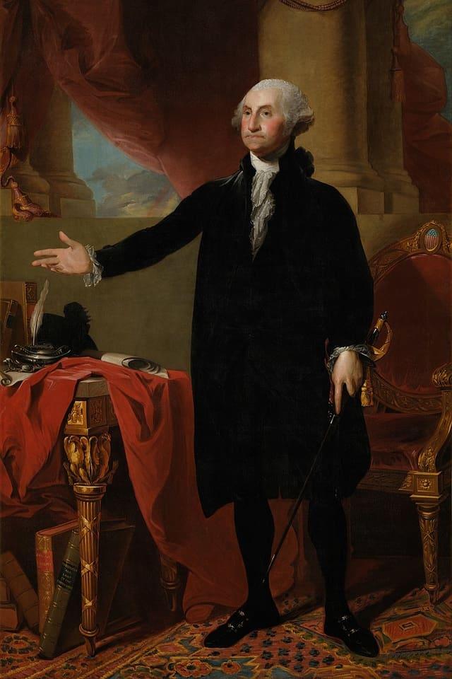 George Washington porträtiert. Er trägt einen Stock.