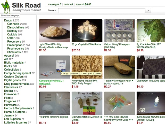 Ein Screenshot der Plattform Silk Road, auf dem MDMA zum Bestellen angeboten wird.