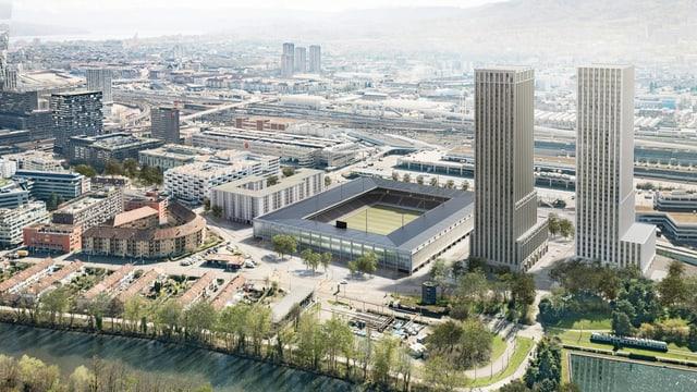 """Visualisierung des Stadionprojekts """"Ensemble"""" mit dem Stadion selber und zwei hohen Wohntürmen."""