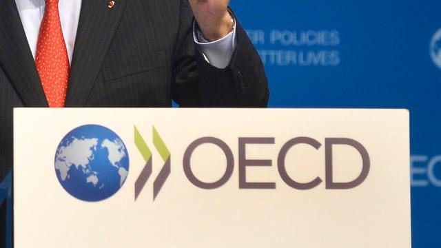 Rednerpult mit dem OECD-Logo