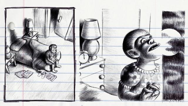 Schwarz-Weiss-Zeichnung: Ein kleines Monster.