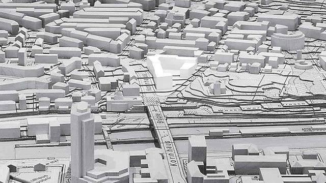 Stadtmodell mit Sicht auf die neue Siedlung hinter der Kornhausbrücke.