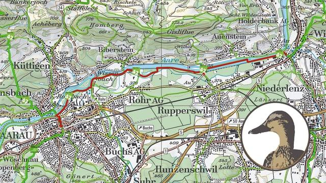 Kartenausschnitt Aarau-Wildegg