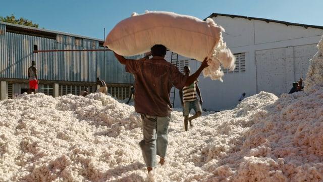 Ein Mann trägt in Tansania Baumwolle über seinem Kopf.