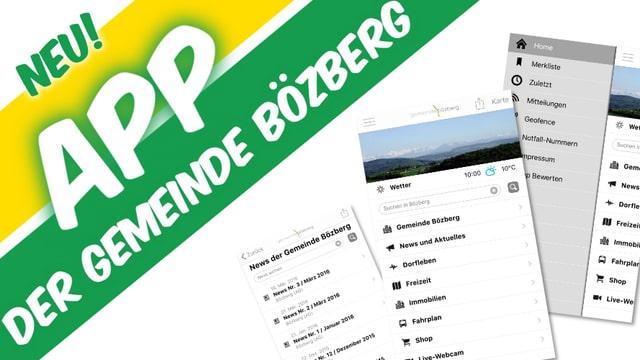 Screenshots der Gemeinde-App.
