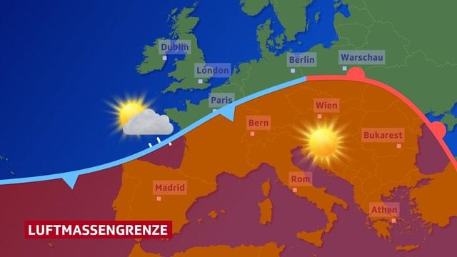 Farbflächen stellen unterschiedliche Luftmassen auf der Europakarte dar. An der Grenze - Übergangszone -  wird Niederschlag produziert. Dort ist ein Regensymbol eingetragen.