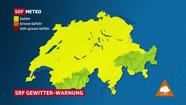 Mit Ausnahmen vom Südwallis und Teilen von Graubünden besteht gegen Abend bis Mitternacht Gefahr durch Gewitter.
