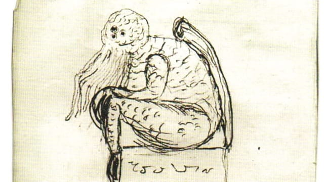 Einfarbige, einfache Skizze, darauf zu sehen ein Monster, das auf einem Klotz sitzt.