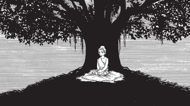 Buddha sitzt unter einem Baum, schwarzweiss gezeichnet.