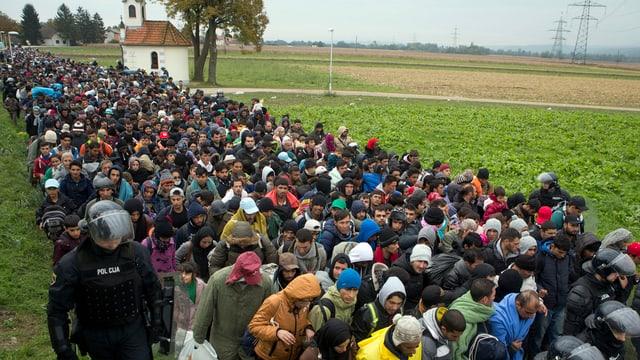 Unda da fugitivs che marschan tras la Slovenia.