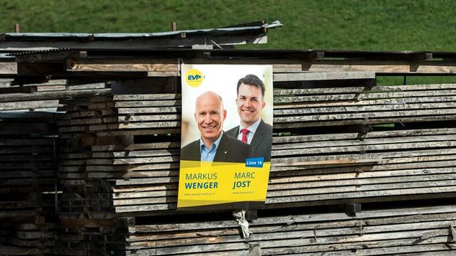 Ein Wahlplakat von Markus Wenger und Marc Jost.