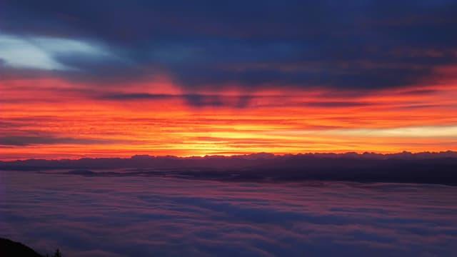 Blick Richtung Sonnenaufgang. Unten das Nebelmeer über dem Jurasüdfuss und oben die Wolken der Warmfront.