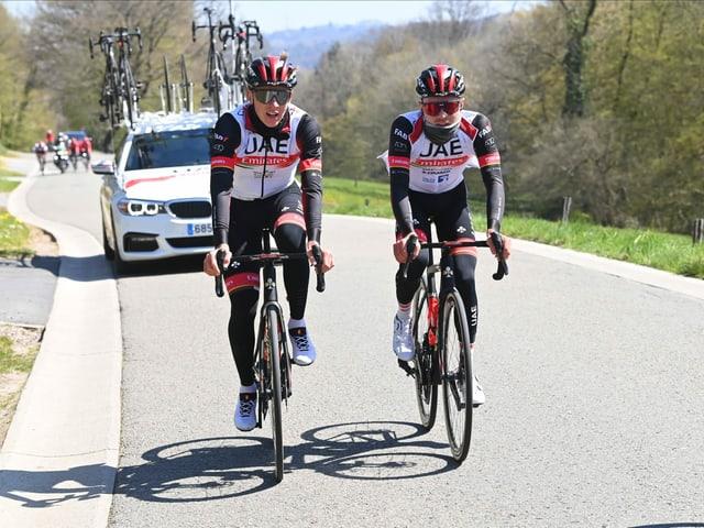 Der Schweizer (rechts) und der Slowene Tadej Pogacar wollen am Sonntag um den Sieg mitfahren.
