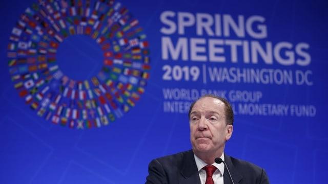 David Malpass durant l'inscunter da primavaira da la banca mundiala a Washington.