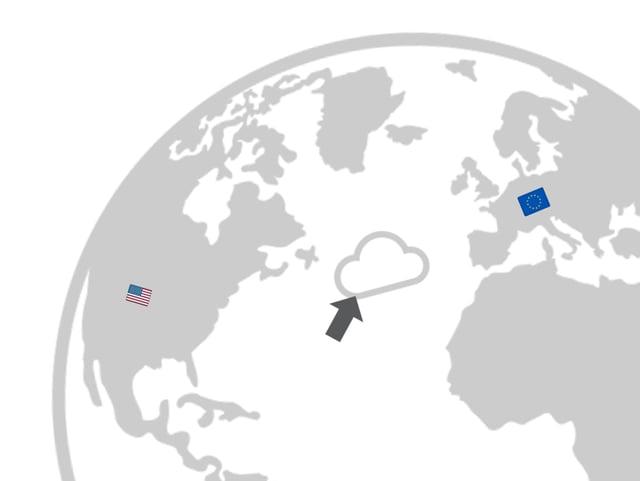 Infokarte mit dem Globus, visualisiert den Ort des Atantiks