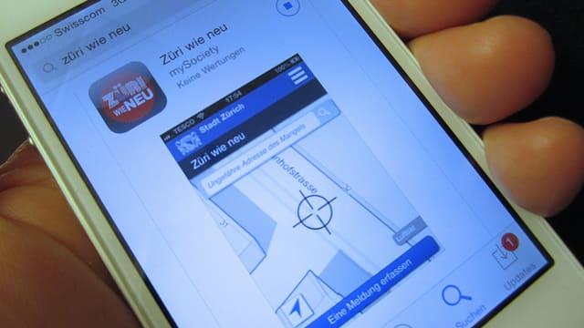 Wird im Durchschnitt fünfmal täglich betätigt: Die «Züri wie neu»-App.