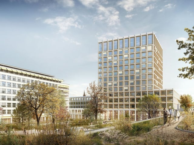 Visualisierung des neuen Turms: Blick auf den Turm gesehen vom Spitalinnenhof