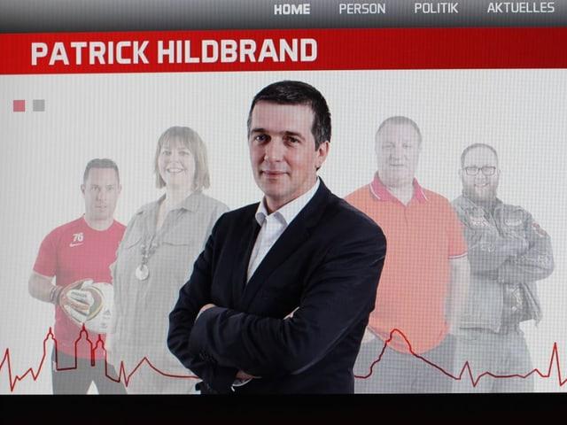 Startseite von SVP-Kandidat Patrick Hildbrand.