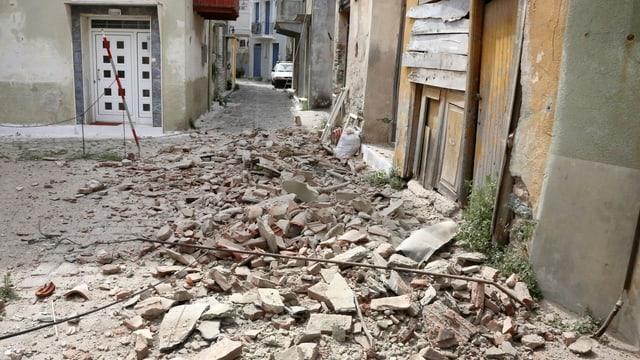 Auf der griechischen Insel Lesbos richtete das Beben erhebliche Schäden an.