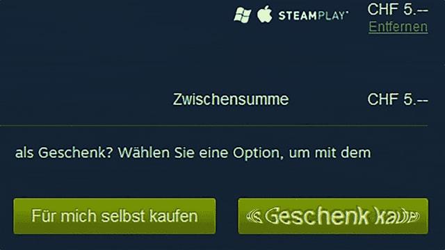 Zwei Buttons auf Steam, «für mich selbst kaufen» und «als Geschenk kaufen». Letzterer pulsiert.