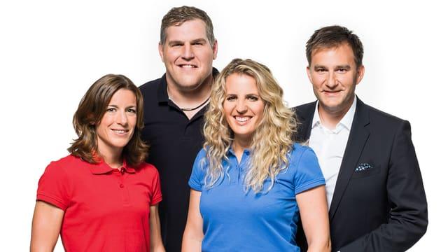 Von links nach rechts: Nicola Spirig, Christian Stucki, Patrizia Kummer und Sascha Ruefer zusammen im Porträt.