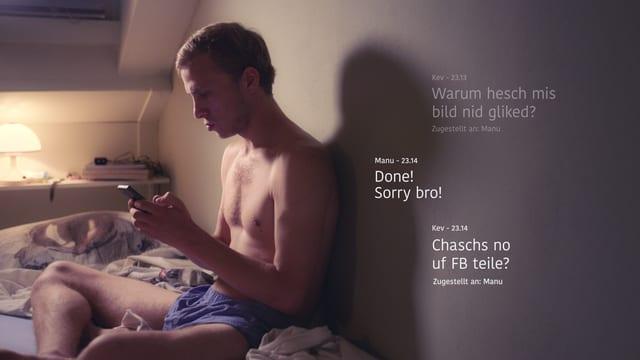 Kevin (Max Hubacher) kommuniziert via Smartphone mit seinem Kumpel.