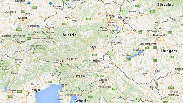 Google-Karte zeigt die Grenzen zwischen Österreich, Slowenien, Ungarn und Kroatien.
