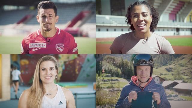 Von oben links im Uhrzeigersinn: Fussballer Dennis Hediger, Sprinterin Mujinga Kambundji, Alpin-Snowboarder Nevin Galmarini, Kletterin Petra Klingler.
