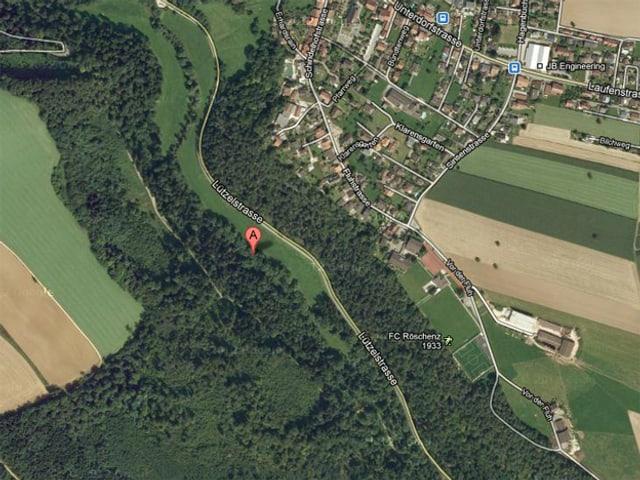 Ein Satelitenbild Ausschnitt von Röschenz und dem Lützelbach