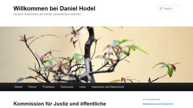 Kein Wort von der Kandidatur auf Daniel Hodels Homepage.