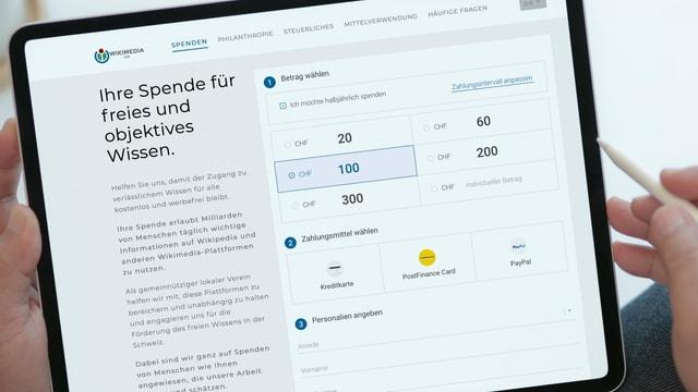Ansicht eines Bildschirms auf dem Informationen über Spenden zu lesen sind.