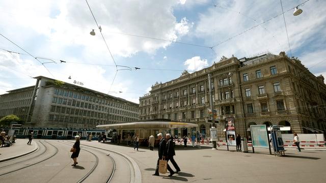 Der Paradeplatz in Zürichs Innenstadt.