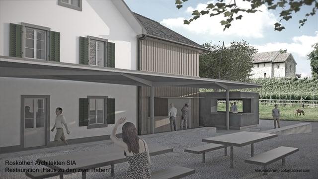 Visualisierung der geplanten Umbauten auf der Zürichseeinsel Ufenau.