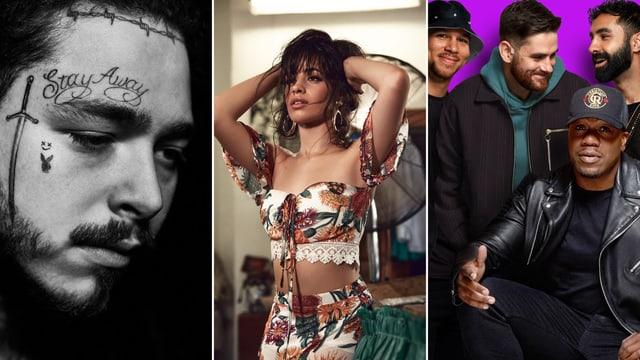 Von links: Post Malone, Camila Cabello und Rudimental.