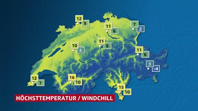 Schweizer Karte mit den Höchstwerten versus den gefühlten Temperaturen.