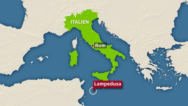 Italien Karte Lampedusa.International Schiffbruch Vor Lampedusa Mindestens 133
