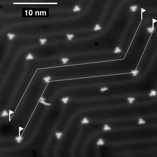Die Rennstrecke, eingezeichnet auf einer Länge von etwa 40 Nanometern.