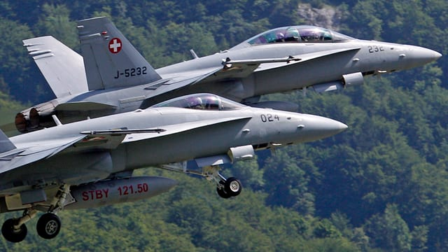 FA-18-Kampfflugzeuge der Schweizer Armee fliegen über Schweden bei einer Präsentation 2012. (reuters)