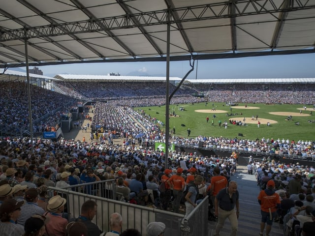 Ein Bild vom Eidgenössischen Schwingfest 2019 in Zug.